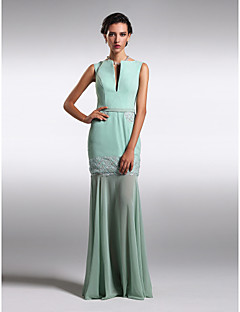 Formal Evening Dress - Jade Plus Sizes / Petite Sheath/Column Bateau / V-neck Floor-length Chiffon