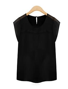 여성의 라운드 넥 짧은 소매 티셔츠 쉬폰