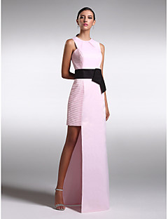 Formal Evening Dress - Blushing Pink Plus Sizes / Petite Sheath/Column Jewel Floor-length Satin