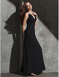 Robe - Noir Soirée formelle Fourreau Col en V Longueur ras du sol Crêpe