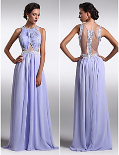 Formal Evening Dress - Beautiful Back Plus Size / Petite Sheath / Column Scoop Floor-length Chiffon with Beading / Side Draping