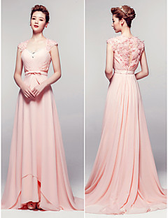 Formal Evening Dress - Pearl Pink Sheath/Column V-neck Floor-length Chiffon