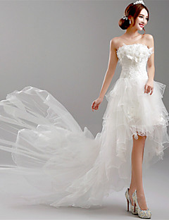 A-line Wedding Dress Asymmetrical Strapless Tulle with