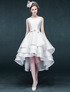 A-line Wedding Dress Asymmetrical Jewel Satin with