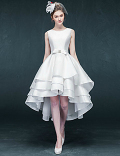 A-line Wedding Dress-Asymmetrical Jewel Satin