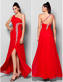 Formal Evening Dress - Ruby Sheath/Column One Shoulder Floor-length Chiffon