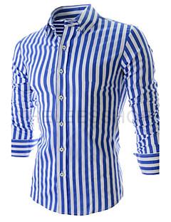 Maimi  Men's Long Sleeve Shirt , Cotton Blend Casual/Work/Formal Striped