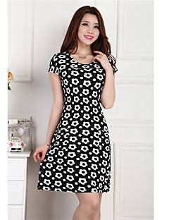 Women's Casual/Print/Work/Plus Sizes Micro-elastic Short Sleeve Knee-length Dress (Chiffon/Polyester)