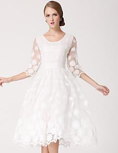 Robe de Demoiselle d'Honneur  - Blanc Princesse Col U profond Longueur genou Organza