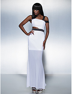 Formal Evening Dress - White Plus Sizes / Petite Sheath/Column Straps Ankle-length Chiffon