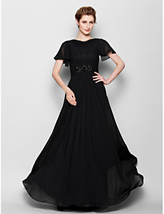 Vestido Para Mãe dos Noivos - preto Tubo/Coluna Longo Manga Curta Chiffon