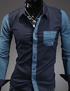 Men's Solid Casual / Work / Formal Shirt,Polyester Long Sleeve Blue / White