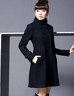 Women's Coat,Solid Long Sleeve Winter Blue / Pink / Black / Gray Wool / Cotton / Others Thick