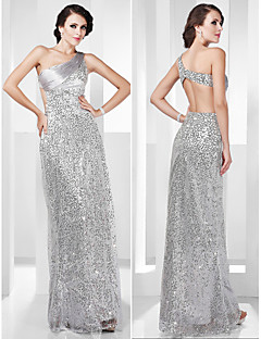 TS Couture Formal Evening / Military Ball Dress - Silver Plus Sizes / Petite Sheath/Column One Shoulder Floor-length Stretch Satin / Sequined