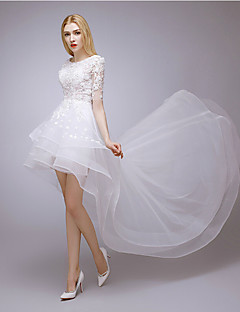 A-line Wedding Dress - Chic & Modern Lacy Looks Asymmetrical Jewel Lace / Tulle with Appliques / Pearl