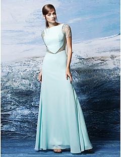 Homecoming gaine de robe de soirée / colonne formelle bateau-parole longueur en mousseline de soie
