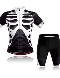 WOSAWE Cycling Jersey with Shorts Unisex Short Sleeve Bike Breathable Quick Dry Front Zipper Back PocketShorts Jersey + Shorts Clothing