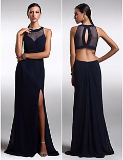 Formal Evening Dress - Dark Navy Sheath/Column Jewel Floor-length Chiffon