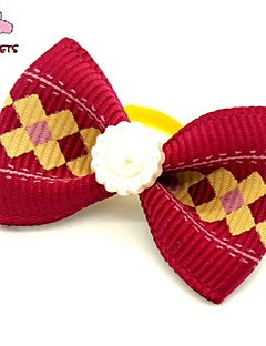 FUN OF PETS® Fashionable Plaid Print Pattern Rhinestone Decorated Rubber Band Hair Bow for Pet Dogs  (Random Color)