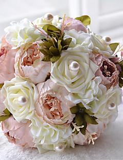 Hochzeitsblumen Rundförmig Rosen Sträuße Hochzeit Polyester Satin Perlen Schaumstoff ca.24cm