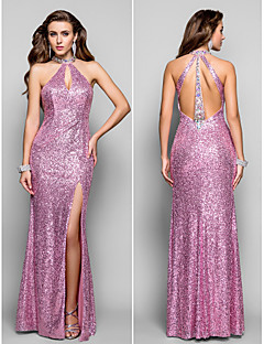 Formal Evening/Prom/Military Ball Dress Plus Sizes Sheath/Column High Neck Floor-length Sequined