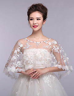 Gorgeous Women's Wedding Wraps Ponchos Sleeveless Beaded Lace Bridal Bolero Shrug