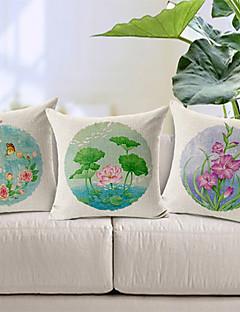 set de 3 fleurs champêtres motifs coton / lin taies d'oreiller décoratif
