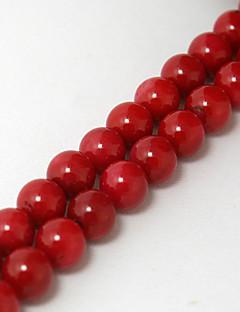 beadia 38 centímetros / str (aprox 55pcs) 7 milímetros rodada contas de coral vermelho tingido de cor vermelho coral de pérolas soltas DIY