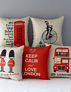 lot de 5 Euro London pays motifs coton / lin taies d'oreiller décoratif