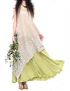 TS Vintage/Sexy/Casual/Cute/Work/Maxi Micro-elastic Sleeveless Maxi Dress (Linen)