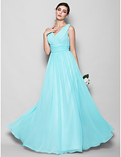 Floor-length Georgette Bridesmaid Dress - Sky Blue Plus Sizes / Petite A-line / Sheath/Column V-neck