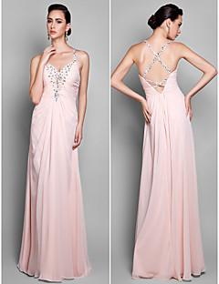 저녁 정장파티/프롬/밀리터리 볼 드레스 - 펄 핑크 시스/컬럼 바닥 길이 스파게티 스트랩 쉬폰 플러스 사이즈