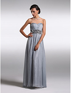 TS Couture® Formal Evening Dress - Silver Plus Sizes / Petite Sheath/Column Strapless Floor-length Chiffon