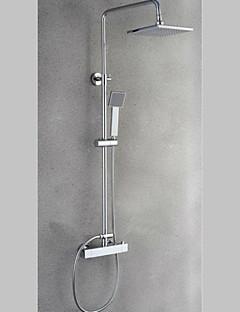 Grifo de ducha - Contemporáneo - Cascada / Con Termostato / Ducha lluvia / Alcachofa incluida - Latón (Cromo)