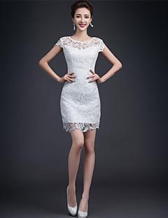 Sheath / Column Wedding Dress - Reception Little White Dress Short / Mini Jewel Lace with Lace