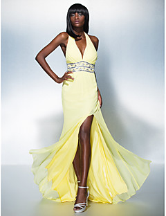 Formal Evening Dress - Daffodil Sheath/Column Halter Floor-length Georgette