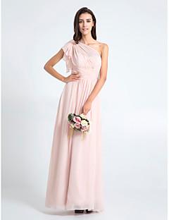 Lanting Bride® Longo Chiffon Vestido de Madrinha - Tubinho Mula Manca Tamanhos Grandes / Mignon com Cruzado
