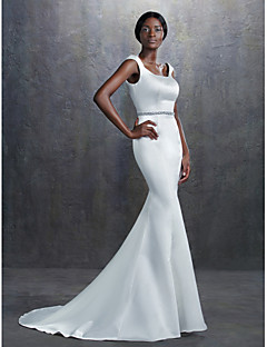 Lanting Trumpet/Mermaid Wedding Dress - Ivory Court Train Square Satin