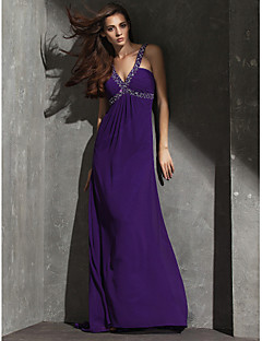 Formal Evening Dress - Plus Size / Petite Sheath/Column V-neck Floor-length Georgette
