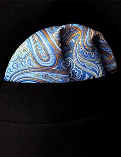 UH9 Shlax&Wing Paisley Blue Orange Pocket Square Mens Neckties Silk Hanky