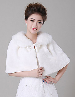 Wedding Lace / Faux Fur Capelets Sleeveless Fur Wraps