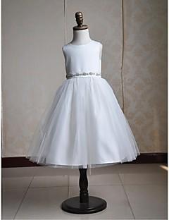 Ball Gown Tea-length Flower Girl Dress - Satin/Tulle Sleeveless(Belt Include)