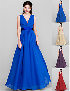 Floor-length Chiffon Bridesmaid Dress - Royal Blue / Ruby / Champagne / Grape Plus Sizes / Petite A-line V-neck