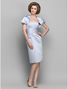 Sheath/Column Mother of the Bride Dress - Silver Knee-length Short Sleeve Satin/Taffeta