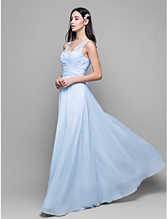 Lanting Bride® Ankle-length Chiffon / Lace Bridesmaid Dress Sheath / Column V-neck with Lace / Criss Cross