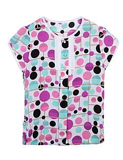 Uden ærmer Kvinders Blå / Lilla Trykt mønster Sommer Simpel Casual/hverdag T-shirt,Polyester