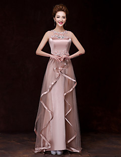 Formal Evening Dress - Champagne A-line Bateau Floor-length Satin