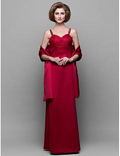 Vestido Para Mãe dos Noivos - Vermelho Tubo/Coluna Longo Sem Mangas Cetim