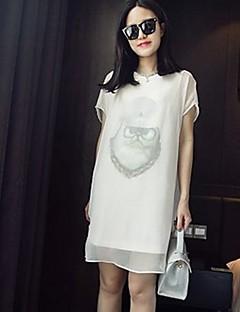 Women's Round Neck Dress , Cotton Blends Knee-length Short Sleeve