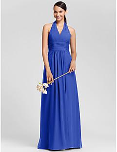 Lanting Bride® עד הריצפה שיפון אמא ובת שמלה לשושבינה - מעטפת \ עמוד קולר / צווארון וי פלאס סייז (מידה גדולה) / פטיט עםתד נשפך / בד